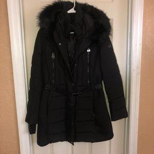 Michael Kors Active Belted FauxFurTrim Puffer Coat